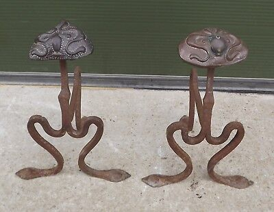Antique Pair of Art Nouveau Copper & Cast Iron Fire Dogs - Need Repair