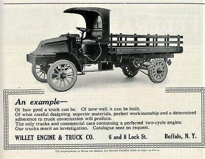 1913 Vtg Original WILLET TRUCK Ad. Nice PHOTO. Willet Engine & Truck, Buffalo NY