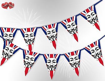 Bonfire Night Guy Fawkes Mask Union Jack 5th Nov Bunting Banner by PARTY DECOR](Bonfire Night Decorations)
