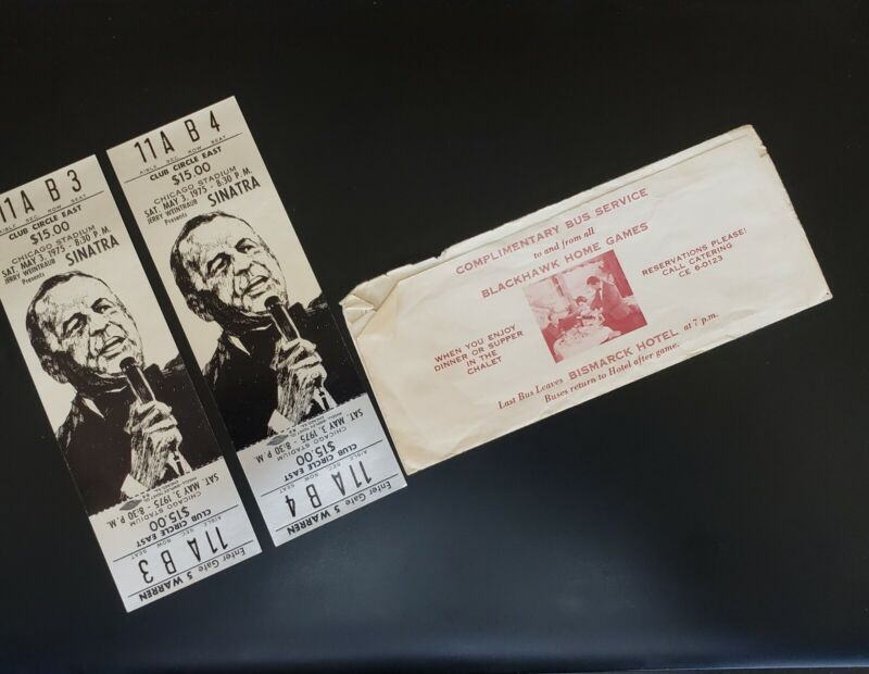 Frank Sinatra Chicago Stadium. May 3, 1975. Two Unused Tickets And Box Office...