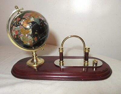 handmade gemstone natural stone globe letter pen holder desk stand caddy set