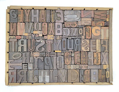 Letterpress Wood Types Collage Trust Yourself 138 Vintage Mixed Wooden Typestc24