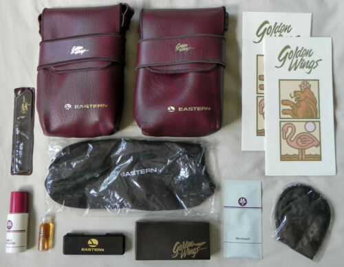 "2 Eastern Airlines ""Golden Wings"" Passenger Bags + Accessories, 1985 Pouches Exc"