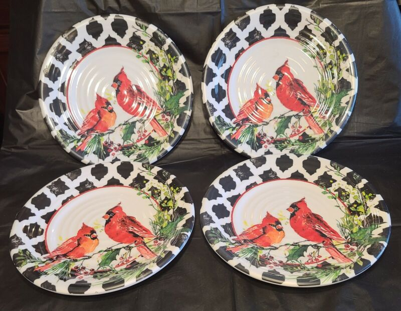 Melamine Dinner Plates 9 inch Cottonwood Home Cardinals Holiday