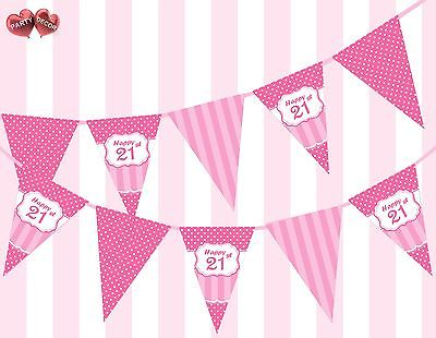 Perfect Pink Happy 21st Birthday Vintage Polka Dots Stripes Theme Bunting - 21st Birthday Theme