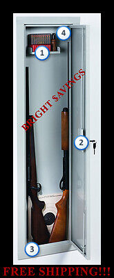Stack-On IWC-55 Full Length In Wall Gun Storage Vault Cabinet Safe Key Lock