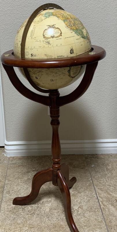 "Vintage Replogle 12"" Diameter World Classic Series Globe 27.75"" Wood Base"