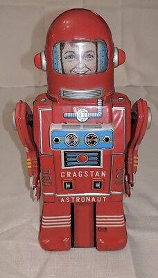 Vintage 1950s Cragstan Astronaut Tin Robot Japan - Rare !   Working !