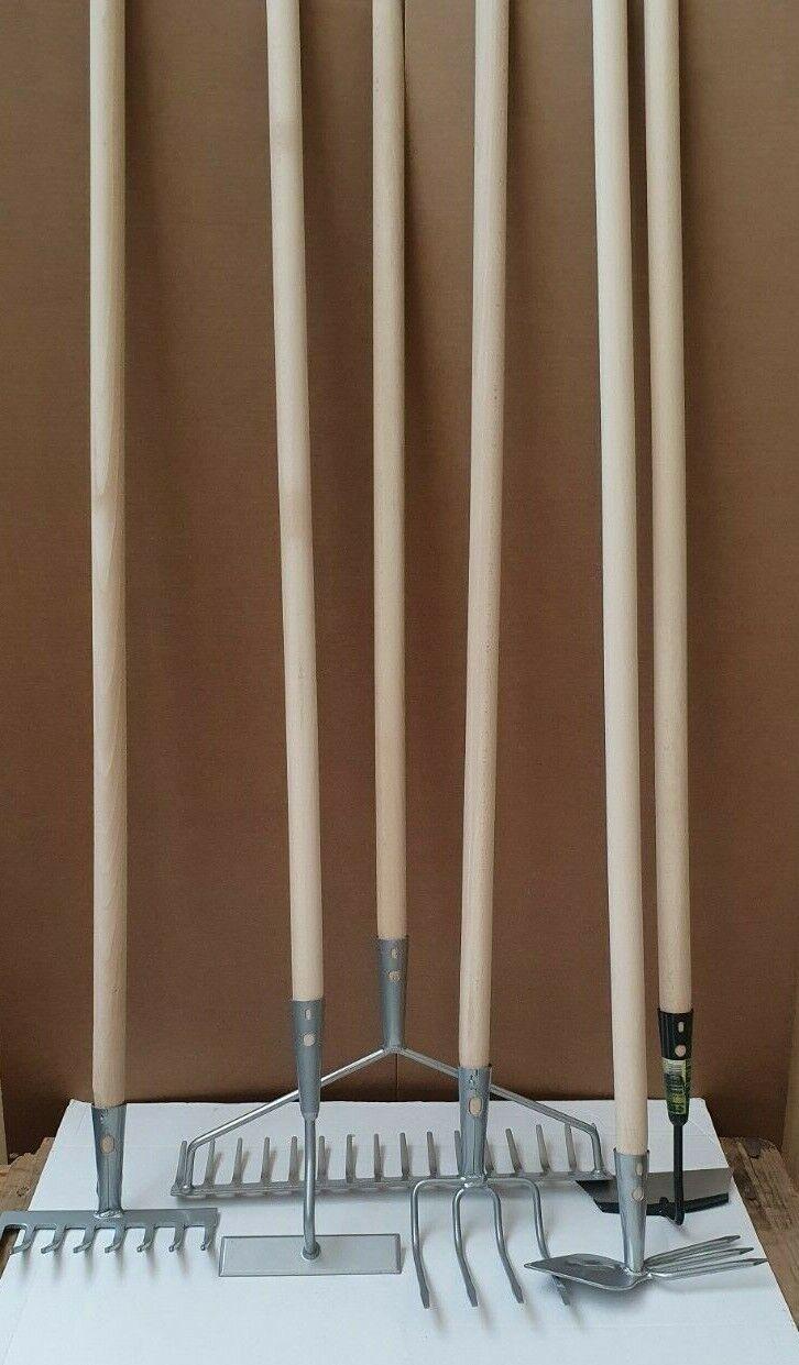 SET 6 tlg.Gartengeräte INKL. 6xSTIELE Bügelrechen Harke Grubber Gartenwerkzeug