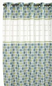 Hookless PEVA Shower Curtain with Window, Mosiac Jade, New, Free Shipping