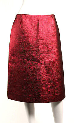 LOUIS VUITTON NWT Metallic Garnet Red Wool Silk Lame Pencil Skirt 40