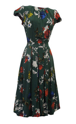 New Green Red Floral Wartime WW2 Victory 1940's Vintage style Tea Dress
