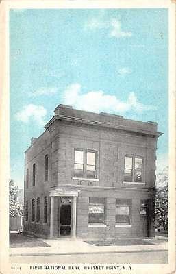 Whitney Point New York First Natonal Bank Street View Antique Postcard K64015
