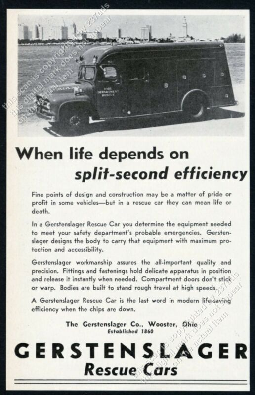 1955 Miami Fire Department rescue truck car photo Gerstenslager trade print ad