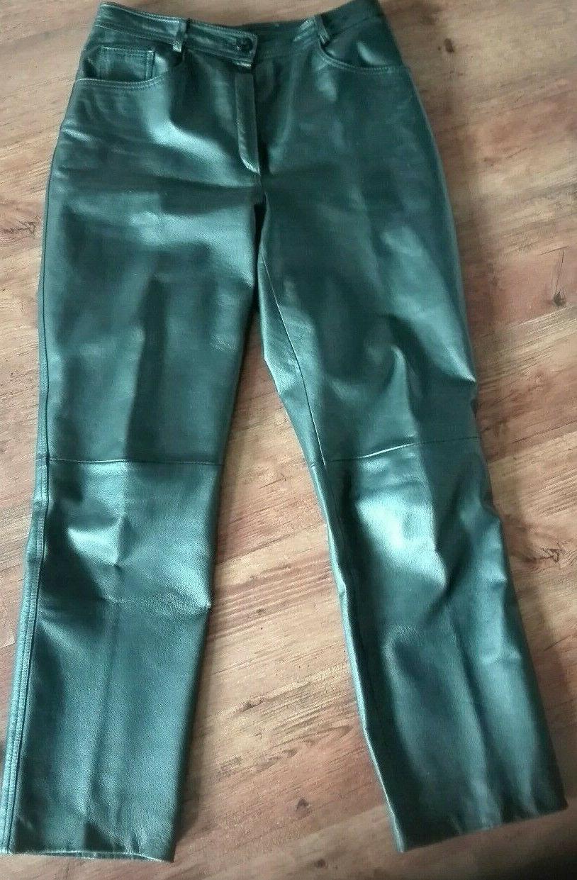 Lederhose Damen Größe 40/42 Hose Schwarz Echtleder Gerade Form
