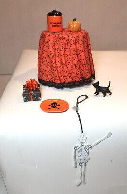 DOLLHOUSE MINIATURE HALLOWEEN LOT TABLE-COOKIE JAR-BLACK CAT-PUMPKIN + MORE