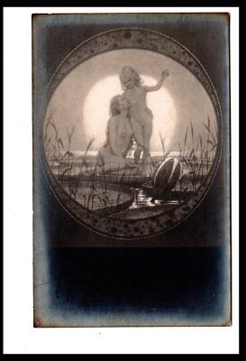 Ad2416  Fantasy  By Fidus Nude Mother And Son At Lilly Pond Rppc