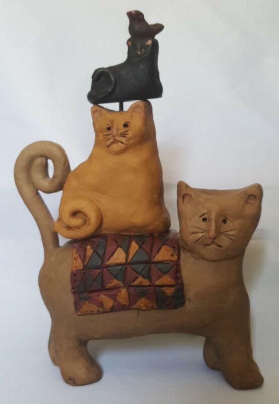 "RARE E Smithson 3 Cat w quilt/blanket Bird on Head Figurine Signed 7"" Tall AB2"