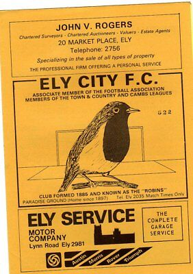 ELY CITY  V WISBECH TOWN 28/1/1982 PROGRAMME