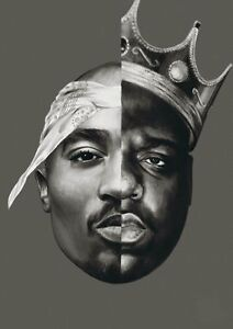 NOTORIOUS HIP HOP Biggie Smalls 'N 'Tupac Shakur BIG 2 PAC A4 POSTER  PRINT