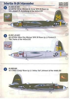 Print Scale Decals 1/72 MARTIN B-26 MARAUDER American WWII Bomber Part 1 for sale  USA
