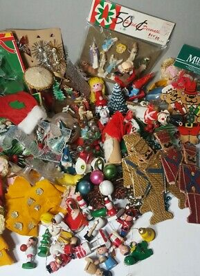 Huge Lot Vintage Christmas Ornaments Decorations Nativity Dry Snowglobes Plus