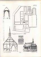 Gothic Ulm General Plan Of Church And Convent Of Franciscans -  - ebay.co.uk