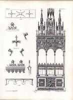 Gothic Ulm Minster Three Stalls Facing High Altar Plan Of Canopy Details -  - ebay.co.uk