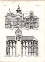 Gothic Treves Notre Dame Longitudinal Section Perspective View West Fronts Dome -  - ebay.co.uk