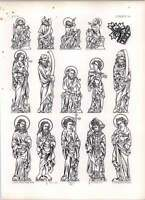 Gothic Lubeck Cathedral Chapel Engravings Brass Details Of Figures -  - ebay.co.uk