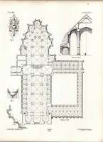 Gothic Lubeck Ground Plan Of Dome Cloisters Dependencies -  - ebay.co.uk