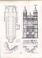 Gothic Worms Cathedral Ground Plan Elevation Sections Profiles -  - ebay.co.uk
