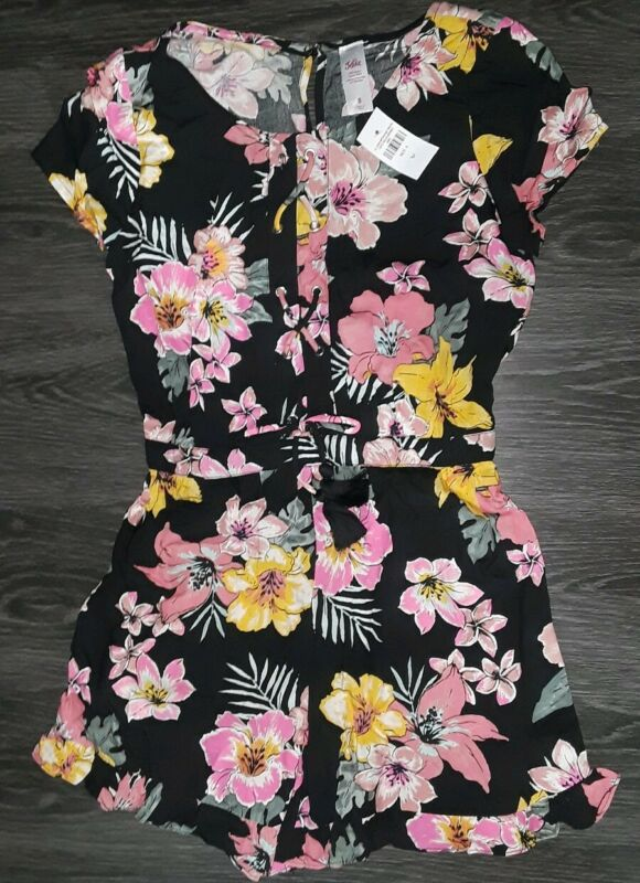 Girls justice lace up romper size 8 new black tropical floral