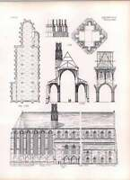 Gothic Erfurth Ground Plan Of Church Of Franciscans Section Nave Aisles -  - ebay.co.uk
