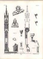 Gothic Ulm Minster Section With Elevation Of Miserere -  - ebay.co.uk