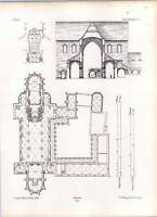 Gothic Naumbourg Cathedral Ground Plan Chapterhouse And Cloisters -  - ebay.co.uk