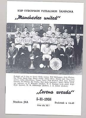 Crvena Zvezda (Red Star) v Manchester United 1958 PROGRAMME - POSTFREE to UK