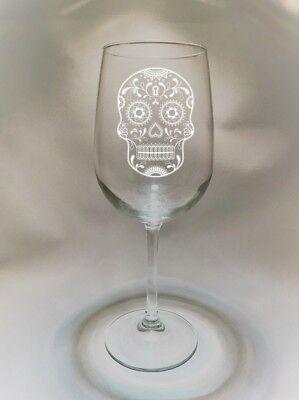 Mexican Sugar Skull #3 Folk Art Etched Wine Glass ***FREE SHIPPING*** - Sugar Skull Wine Glass