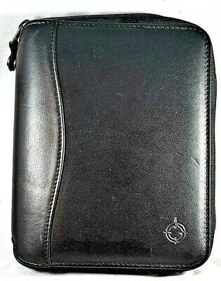 Franklin Covey Compact Planner Organizer Black Leather 6 Rings 7.75x6.5