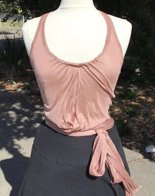 Tom Ford for Gucci c.2001 Vintage Dusty Pink Silk Knit Racer Back Wrap Top Small