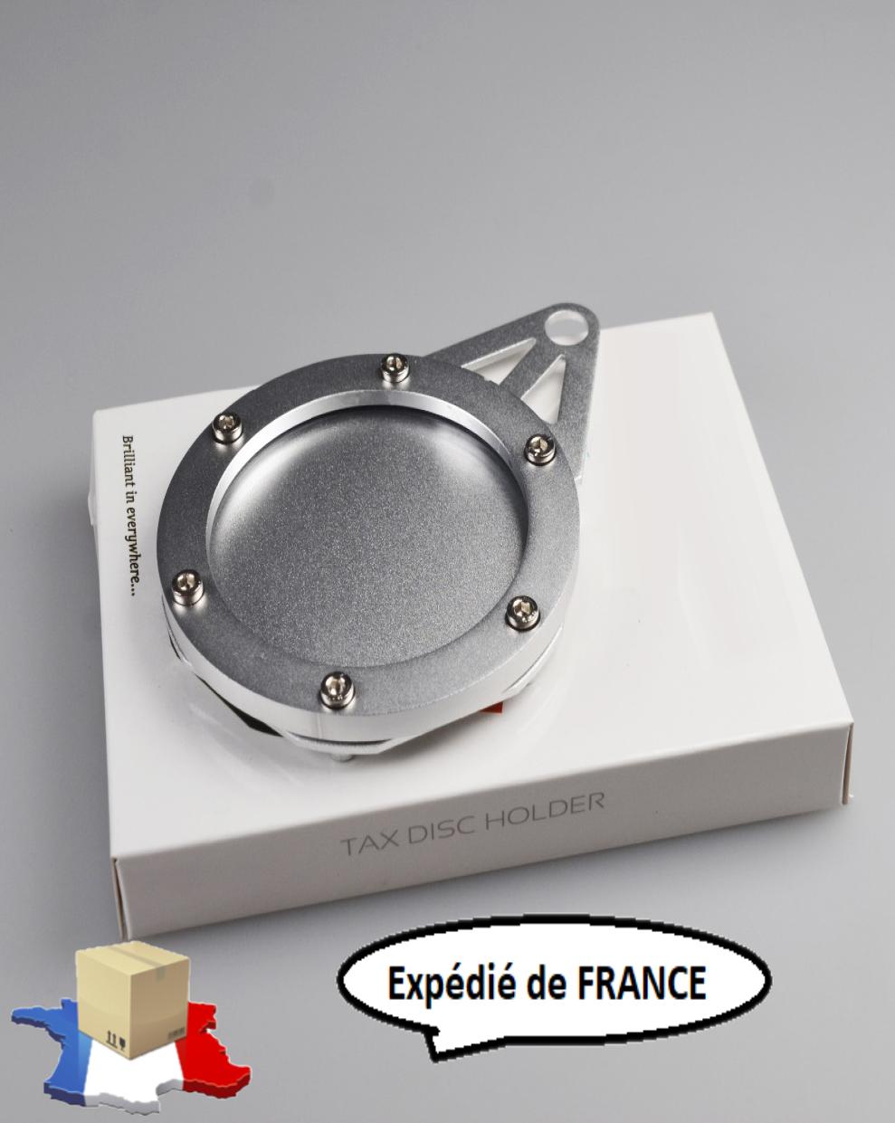 Porte vignette assurance aluminium chrome cyclomoteur mobylette