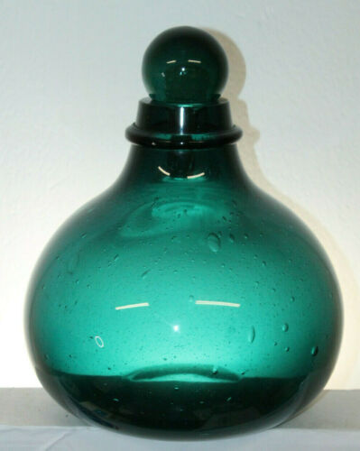 VINTAGE TEAL GREEN APOTHECARY JAR BOTTLE