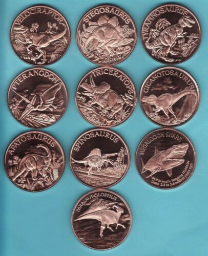 THE DINOSAUR Series  10 COIN SET  1 oz. Copper Round Coins FLAWED BLEMISHES