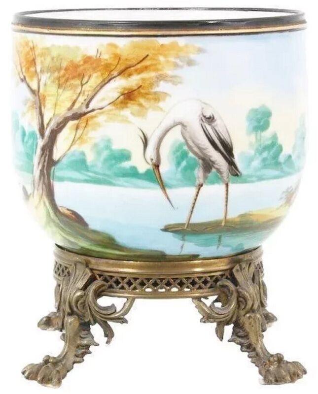 """19c  Porcelain Cachepot Jardinière """" EGRET, DUCKS, TREES & POND """""""
