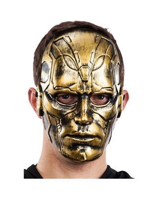 Adults Full Face Masquerade Halloween GOLD Robot Mask Steampunk Fancy Dress (Robot Face Halloween)