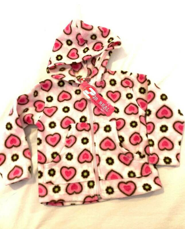NEW Baby Girls 2B Real Hoodie with Hearts Size 18 mo Full Zip Polyester