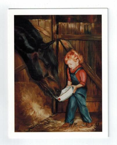 Girl Feeding Horse in Barn Notecard Set - 12 Note Cards By Ruth Maystead HOS-4