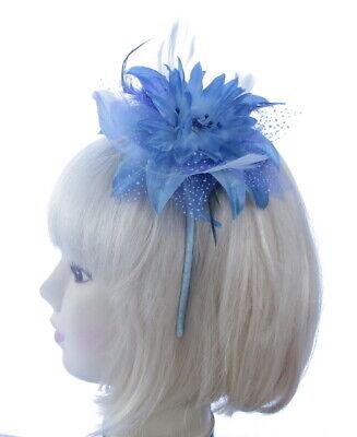 Pluma Azul Diadema Tocado Mujer Boda Royal Ascot