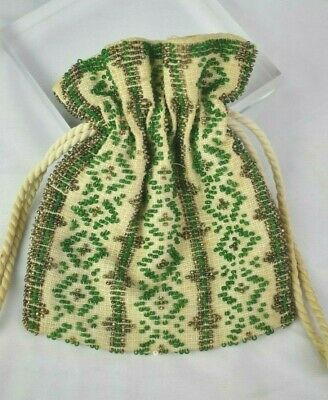 Small Antique Victorian Beaded Crochet Reticule Draw String Purse Green & Bronze