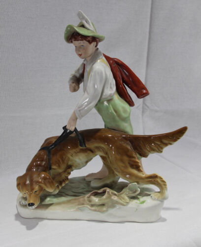 Large Rare Vintage Royal Dux Porcelain Figure of a Boy and a Dog
